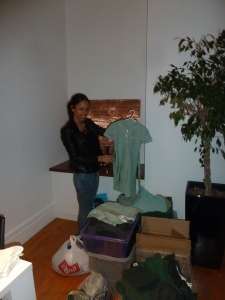 Jess helps pack the clothes before we head to Swaziland